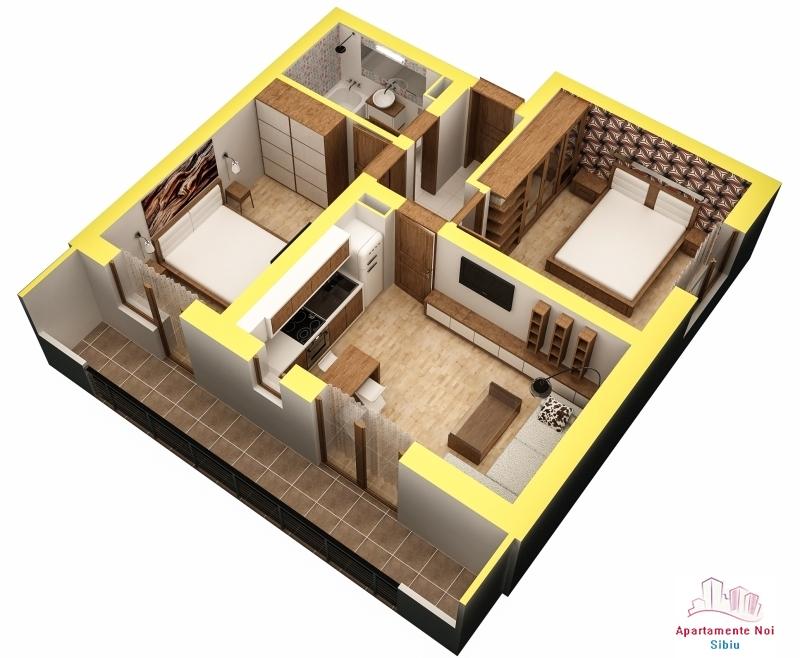 Apartament 3 camere finisat la cheie in Sibiu zona Turnisor -56-2