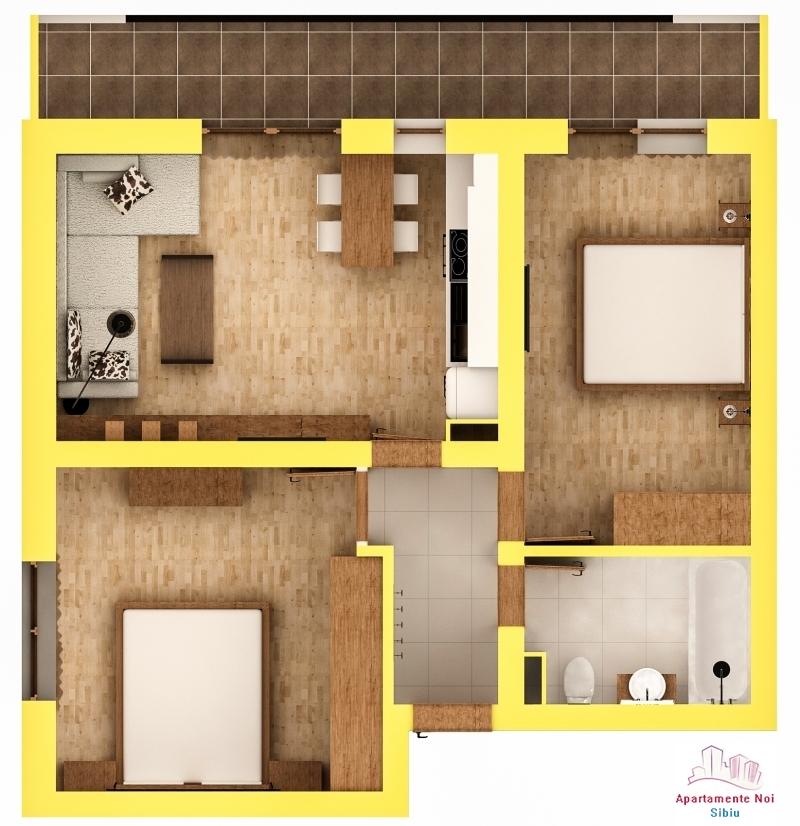 Apartament 3 camere finisat la cheie in Sibiu zona Turnisor -56-3