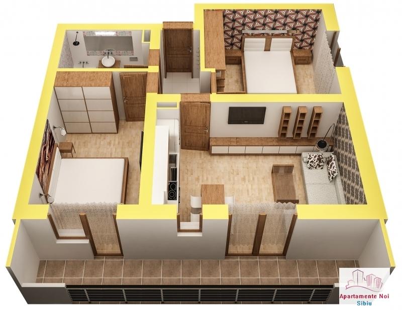 Apartament 3 camere finisat la cheie in Sibiu zona Turnisor -56-4